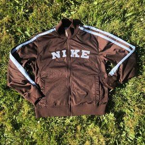 💙 Vintage Nike brown and blue satin bomber jacket